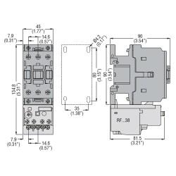 Contattore tripolare 3P 18.5 KW 38A AC3 24V 50/60HZ Lovato
