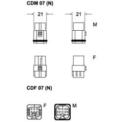 """Inserto maschio Ilme CDM 07 7 poli + PE 10A 250 V dimensione """"21.21"""""""
