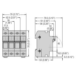 Portafusibili sez. 3P  32A 10X38 BCH Lovato