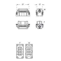 """Inserto femmina Ilme cnef 10 T 10 poli + PE 16A 500 V dimensione """"57.27"""""""
