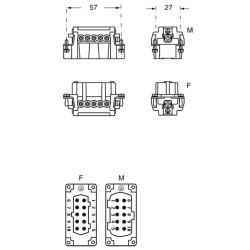 """Inserto maschio Ilme cnem 10 T 10 poli + PE 16A 500 V dimensione """"57.27"""""""