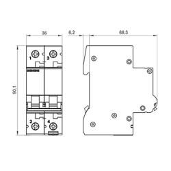 Interruttore magnetotermico 2P curva c 2A Siemens