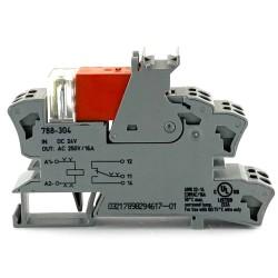 Relè di scambio con zoccolo 24VDC 16A 1via+diodo Wago