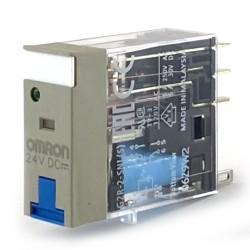 Relè 1 vie 10A 24VDC led+pulsante test Omron