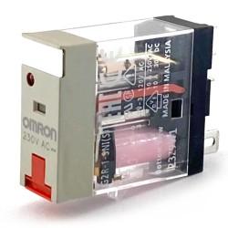 Relè 1 via 230 VAC led+pulsante test Omron