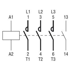 Contattore tripolare 9A AC3 -230V 3P+1NO Lovato